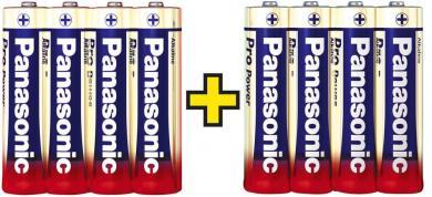 Set baterii alcaline AA, 4+4 gratis, Panasonic Pro Power