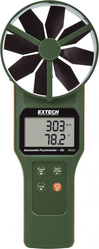 Termoanemometru cu elice, măsurare umiditate şi concentraţie CO2, Extech AN320