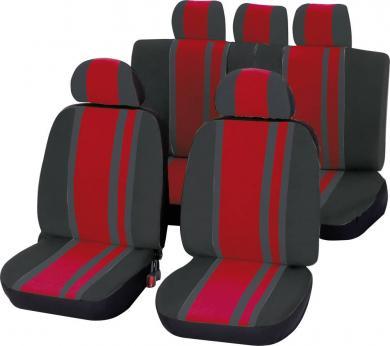 Set scaune auto faţă şi banchetă spate, roşu, negru 14 piese, Unitec Newline