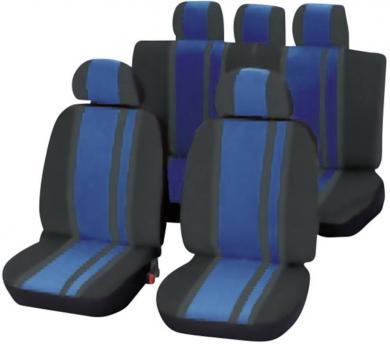 Set scaune auto faţă şi banchetă spate, albastru, negru 14 piese, Unitec Newline