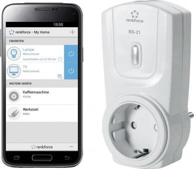 Priză cu control prin Bluetooth, interior, 2,4 GHz, Renkforce BS-21