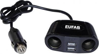 Distribuitor priză brichetă auto cu 2 prize şi 2 mufe USB, Eufab
