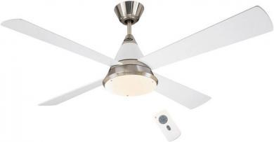 Ventilator de tavan (Ø) 132 cm cu iluminare, 6 trepte de viteză, 4 palete, culoare palete/carcasă: gri-argintiu, alb lăcuit/crom (şlefuit), alb lăcuit, CasaFan Eco Cono-L 132 BN-WE
