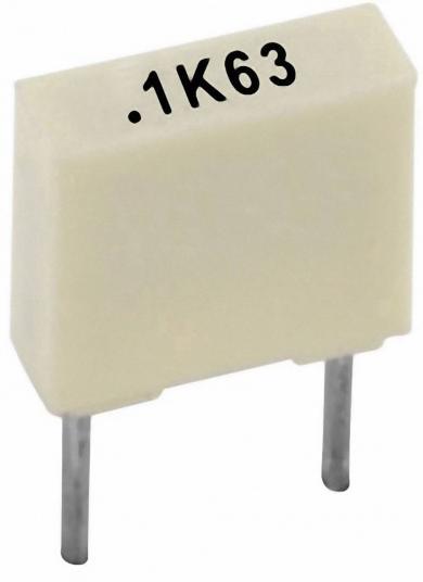 Condensator poliester 100 nF, 63 V, 10 %, distanţă între contacte 5 mm, (l x Î x A) 7,2 x 2,5 x 6,5 mm, Kemet R82DC3100AA50K
