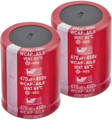 Condensator electrolitic snap-in 270 µF, 450 V, 20 %, (Ø x Î) 35 x 37 mm, Würth Elektronik WCAP-AIG8 861011486021