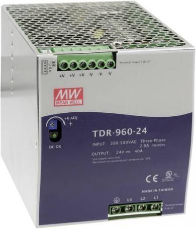 Sursă de alimentare trifazată, şină DIN, 24 V/DC, 40 A, 960 W, Mean Well TDR-960-24