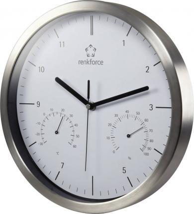 Ceas de perete cuarț cu termohigrometru, Renkforce A1201