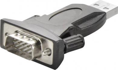 Adaptor USB 2.0 la serial, mufă tată D-SUB 9 pini - mufă tată USB A, cablu 1 m, negru, Renkforce