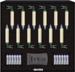 Set 12 lumânări led wireless cu telecomandă pentru pomul de Crăciun, alb-cald, interior, Krinner