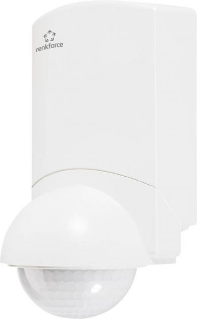 Detector de mişcare cu senzor PIR 360° şi soclu tip colţar, montare aparentă, IP55, Renkforce