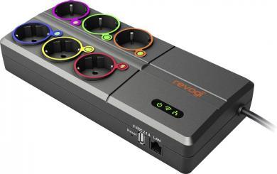 Prelungitor cu 6 prize controlat prin smartphone, WiFi, LAN, USB, Revogi SOW323