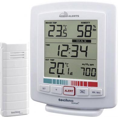 Termohigrometru wireless cu monitorizare calitate aer Mobile Alerts WL 2000, Techno Line
