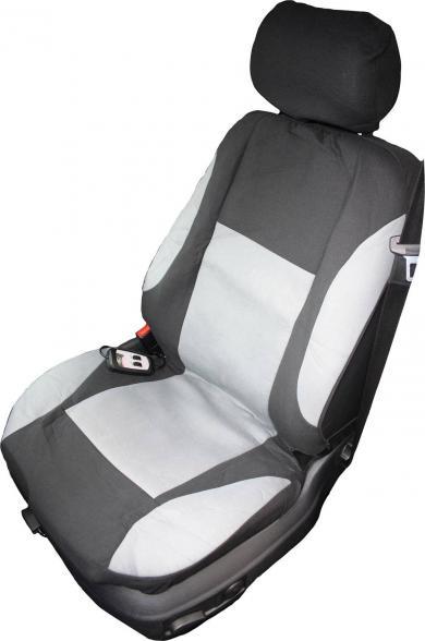 Husă scaun cu încălzire 12 V, 2 trepte de încălzire, negru-gri