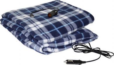 Pătură electrică fleece 12 V, 1 treaptă de încălzire, albastru-alb