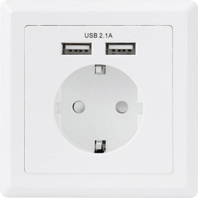 Priză cu două porturi USB, montaj încastrat, IP20, alb, Basetech