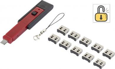 Sistem blocare port USB Renkforce, 1 cheie şi 10 lacăte