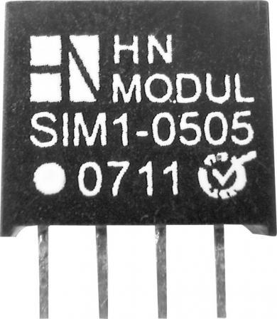 Modul convertor DC/DC, 5 V/DC 12 V/DC, 83 mA, 1 W, HN Power SIM1-0512-SIL4