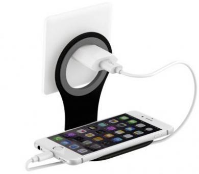 Suport de priză pentru încărcare smartphone Xlayer Colour Line, negru