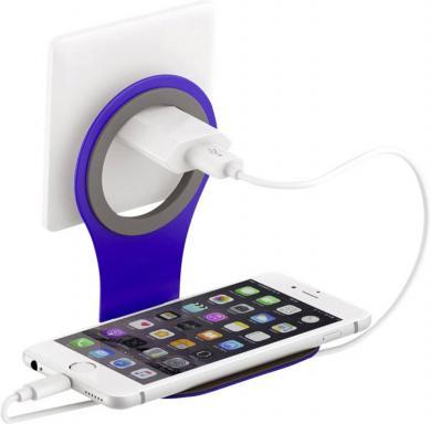 Suport de priză pentru încărcare smartphone Xlayer Colour Line, albastru