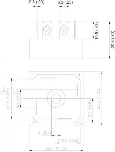 Punte redresoare monofazată 800 V, 35 A, D-34A, Vishay 36MB80A