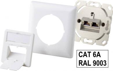 Priză reţea CAT 6a, 2 porturi, montare aparentă, alb alpin, Renkforce NDU-6503