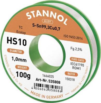 Aliaj de lipit fără plumb Sn99Cu1, Ø 1 mm, 100 g, Stannol HS10