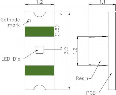 Emiţător IR SMD HT-260IRPJ, carcasă 1205, lungime undă 850 nm