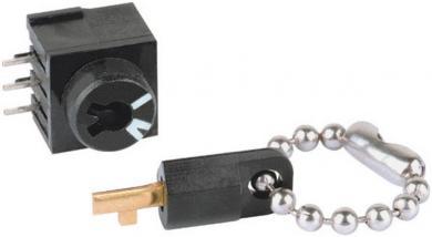 Întrerupător cu cheie miniatură THT, 60 V/DC / 0.5 A, funcţii blocare/blocare