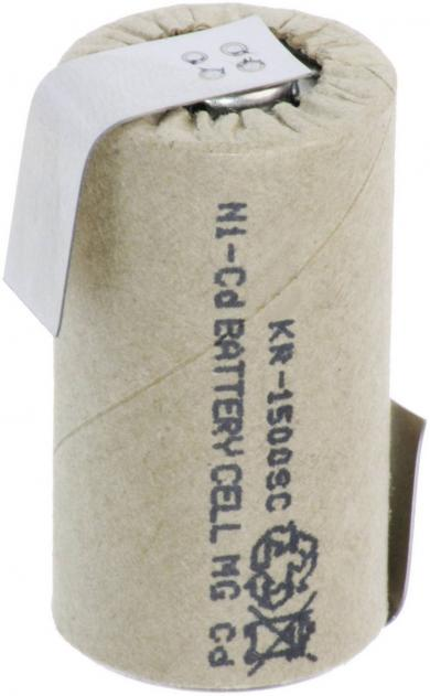 Acumulator NiCd, Sub-C, cu urechi de lipire, 1,2 V, 1500 mAh, Sanyo KR-1500SC