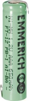 Acumulator NiMH cu urechi de lipire Z, AAA, 1,2 V, 650 mAh, Emmerich