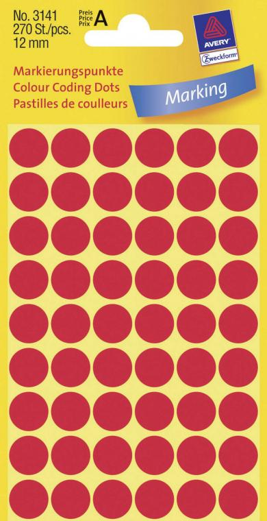 Etichete adezive rotunde permanente Ø 12 mm, roșu, 270 buc., Avery-Zweckform 3141