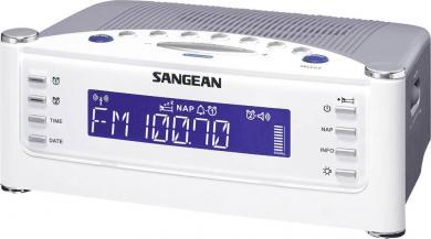 Radio cu ceas radiocomandat Sangean RCR-22, alb-argintiu