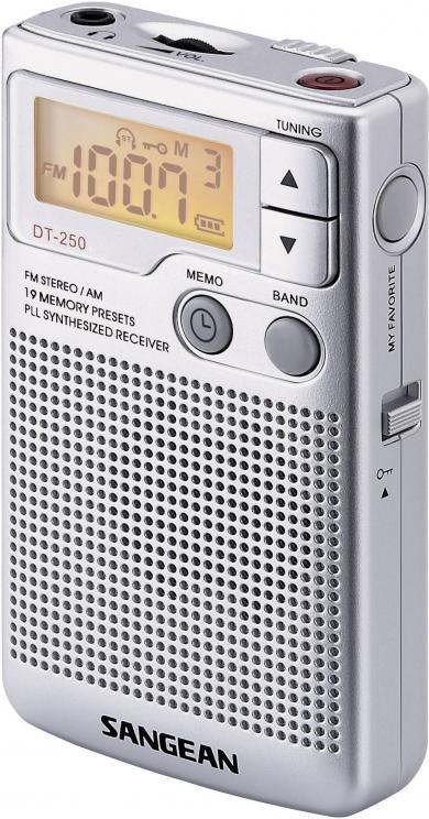 Radio portabil Sangean DT-250, argintiu