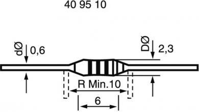 Rezistenţă cu peliculă de carbon 10 Ω, formă de construcţie 0207, 0,25 W