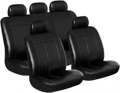 Set huse scaun auto, piele sintetică, negru, 11 piese, Eufab Buffalo