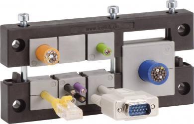 Suport intrare cabluri, 10 manşoane de trecere 21 x 21 mm, IP54, poliamidă, negru, (L x l x Î) 148 x 58 x 17 mm, Icotek KEL 24/10