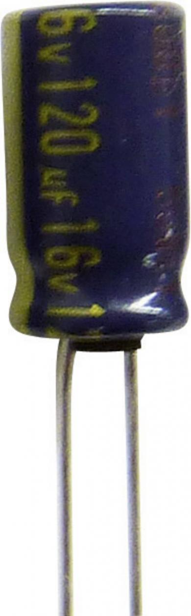 Condensator radial Panasonic seria FC EEUFC1J220H, RM 2,5 mm, 22 µF, 63 V