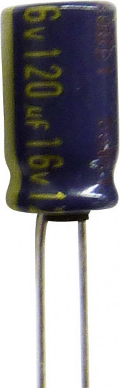 Condensator radial Panasonic seria FC EEUFC1J121B, RM 5 mm, 120 µF, 63 V