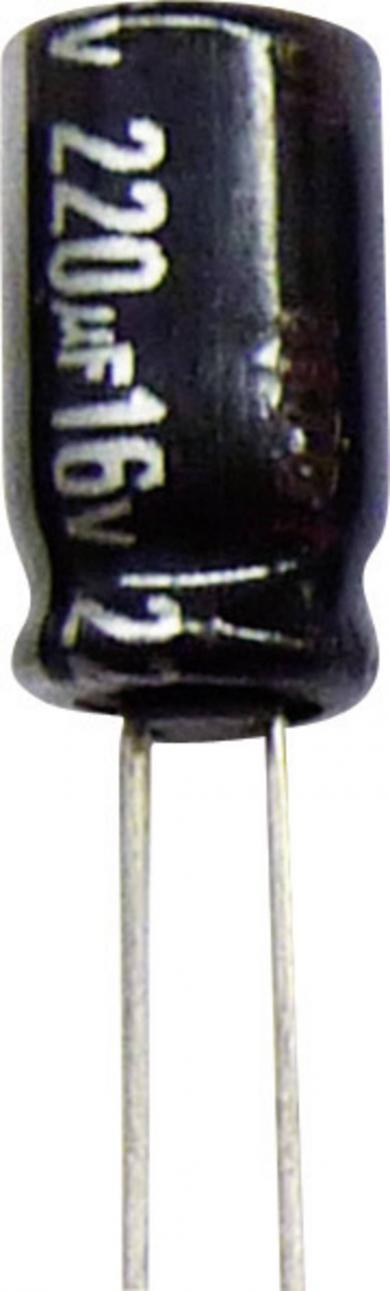 Condensator radial Panasonic seria NHG ECA1EHG221, RM 3,5 mm, 220 µF, 25 V