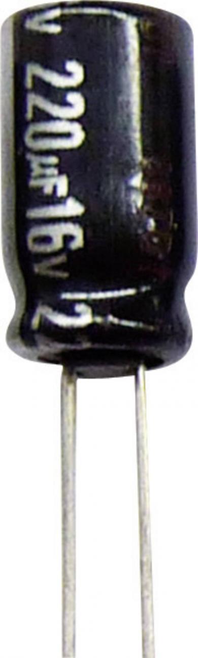 Condensator radial Panasonic seria NHG ECA1HHG221B, RM 5 mm, 220 µF, 50 V