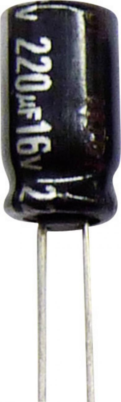 Condensator radial Panasonic seria NHG ECA1JHG222, RM 7,5 mm, 2200 µF, 63 V