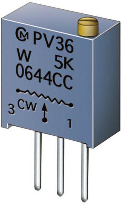 Potenţiometru cermet Murata PV 36 W, PV36W500C01B00, 50 Ω