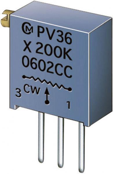 Potenţiometru cermet Murata PV 36 X, PV36X504C01B00, 500 kΩ