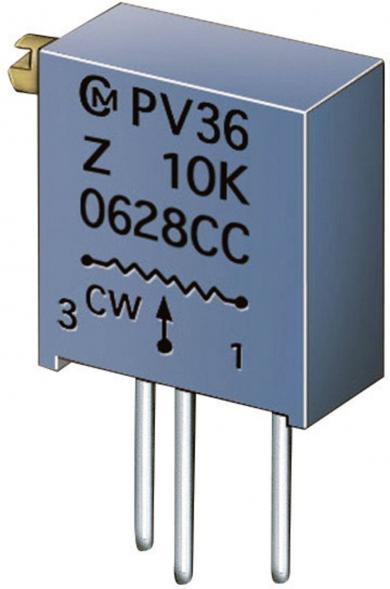 Potenţiometru cermet Murata PV 36 Z, PV36Z100C01B00, 10 Ω