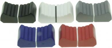 Buton striat pentru potenţiometru glisant, (L x l) 13 x 25 mm, ax 18,5 mm, roşu, ALPS 76611
