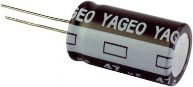 Condensator radial 2,2 µF, 100 V, 20 %, distanţă între contacte 2,5 mm, (Ø x L) 5 x 11 mm, Yageo SE100M2R20AZF-0511