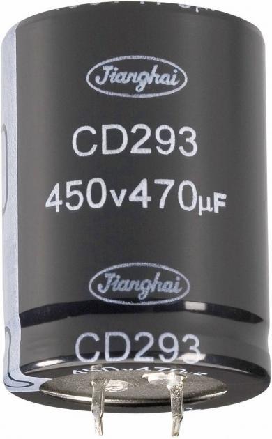 Condensator Snap-in, Long-Life, Jianghai, tip Cd293bz, RM 10 mm, 220 µF, 250 V