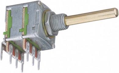 Potenţiometru rotativ ALPHASTAT 16, tip 4021, stereo, 100 kΩ 0,05 W, Log, Ø ax 4 mm