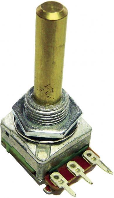 Potenţiometru rotativ ALPHASTAT 16, tip 2168, mono, 100 kΩ 0,2 W, Lin, Ø ax 6 mm