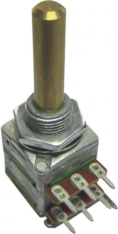 Potenţiometru rotativ ALPHASTAT 16, tip 4181, stereo, 100 kΩ, 0,05 W, Log, Ø ax 6 mm